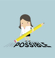 businesswoman is deleting impossible on the floor vector image