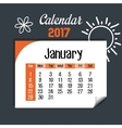 calendar january 2017 template icon vector image