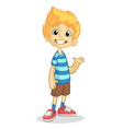 cartoon boy presenting vector image vector image