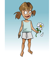 cartoon funny girl guessing on flower camomile vector image vector image