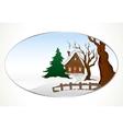Cartoon winter house background
