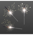 Closeup isolated sparkler shine bengal lights for vector image vector image