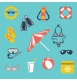 Colorful summer flat icons vector image