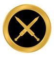 crossed gladius swords button vector image vector image