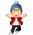 cute little boy raising hands vector image vector image