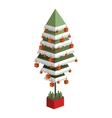 decorated green christmas tree with pixel design vector image