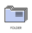 desktop computer isolated icon folders stack vector image