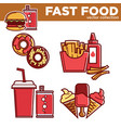 fast food collection with drinks and meals vector image vector image