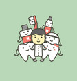 female dentist and best friend of healthy tooth vector image vector image