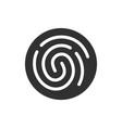 fingerprint simple round black icon line style vector image