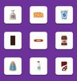 flat icon food set of sack yogurt cheddar slice vector image vector image