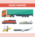 freigh transportation icons truck train ship vector image