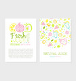 fresh juice card template with space for text vector image vector image