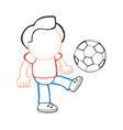 hand-drawn cartoon of man standing kicking vector image