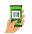 hand holding smartphone with barcode scanner vector image vector image