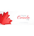 happy canada day horizontal banner with red maple vector image vector image
