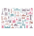icons world tourist attractions and architectural vector image vector image