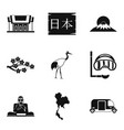 japanese history icons set simple style vector image vector image