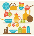 Kitchen shelves vector image vector image