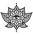 lotus flower with evil eye mandala design vector image