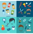 Man Shaving 4 Flat Icons Square vector image vector image