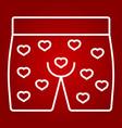 men underwear with hearts line icon vector image vector image