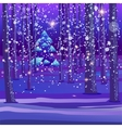 Night winter forest background vector image vector image