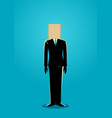 paper bag head businessman vector image vector image