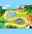 prehistoric dinosaurs boardgame scene vector image vector image