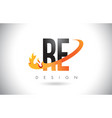 re r e letter logo with fire flames design and vector image vector image