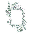 rectangle frame with greenery leaves and branches vector image