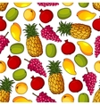 seamless pattern healthy fresh fruits vector image vector image