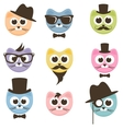 set cartoon hipster cats vector image vector image