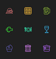 set of 9 editable meal outline icons includes vector image