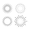 set vintage sunburst light rays firework vector image