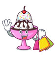 shopping ice cream sundae character cartoon vector image vector image