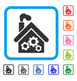 smoking garage factory framed icon vector image