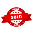 sold ribbon sold round red sign sold vector image vector image