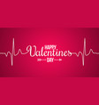 valentines day banner line concept on red vector image vector image