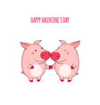 valentines day card with cute pigs vector image
