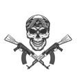 vintage monochrome bandit skull in bandana vector image vector image
