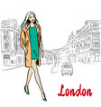 woman walking in london vector image vector image