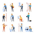 working plumbers flat color icons set vector image vector image
