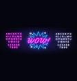 wow neon sign comic speech bubble vector image vector image