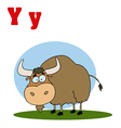 Yak cartoon with letter vector image vector image