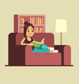 young woman reading book on couch relaxing at vector image