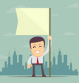 businessman holding white flag place for text vector image