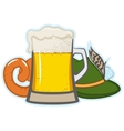 A glass of beer hat with feather and sausage vector image vector image