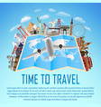 airplane fly over world map with world landmark vector image vector image