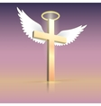 Angel wings nimbus and cross vector image vector image